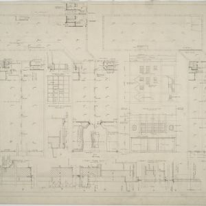Basement plan, first floor plan, second floor plan, Liberty Street elevation