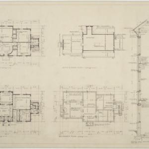 Basement plan, first floor plan, second floor plan, attic and roof plan