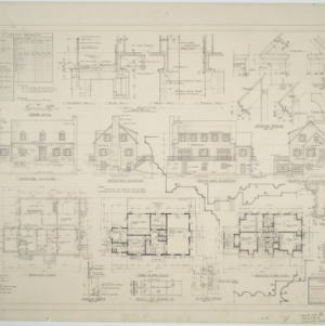Basement plan, first floor plan, second floor plan, elevations