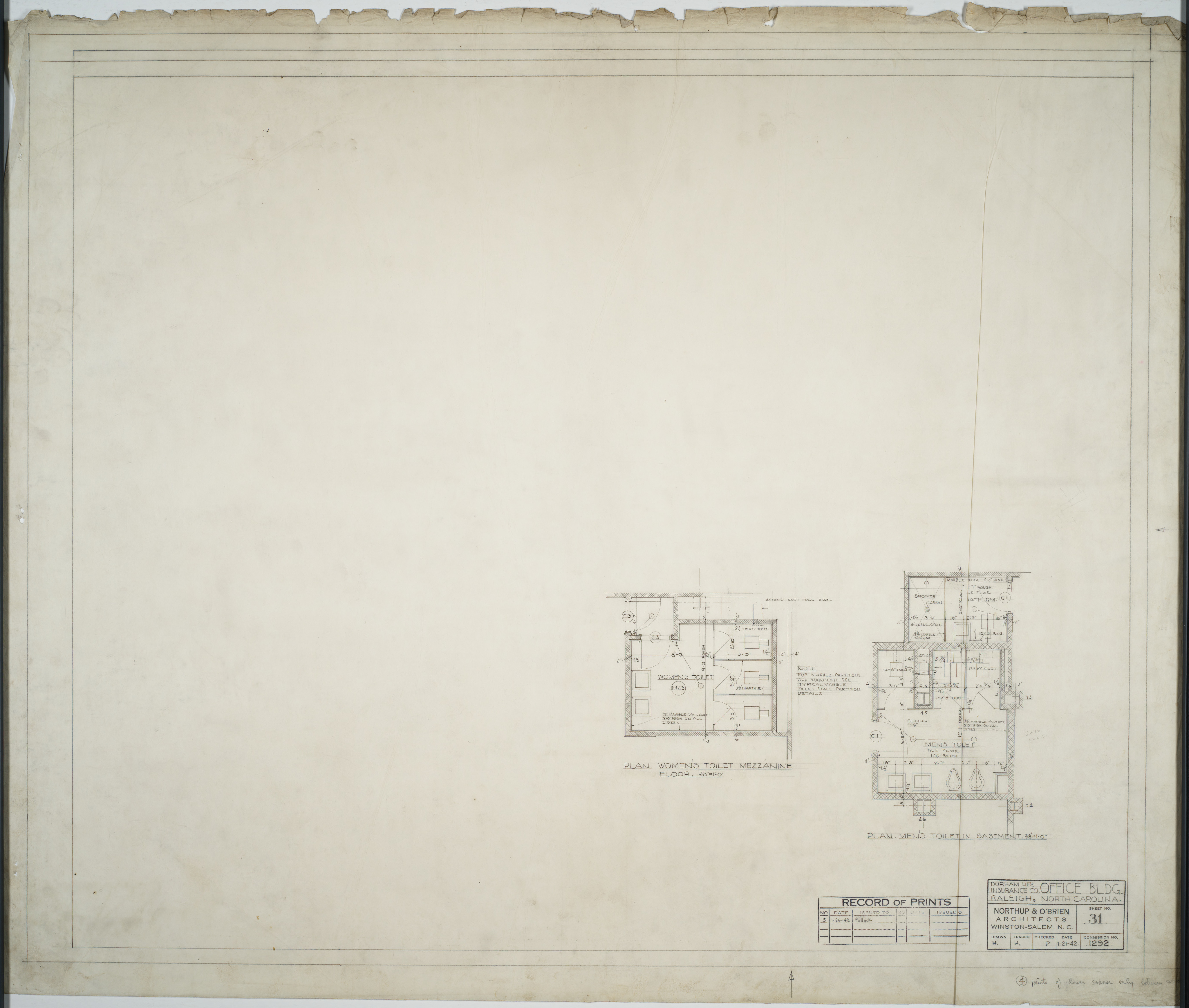 Bathroom Floor Plans Durham Life Insurance Company Raleigh N C Mc00240 001 Ff0310 001