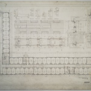 First floor plan, partial elevation, Dormitory D