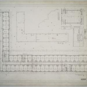 Third floor plan, roof plan, Dormitory D