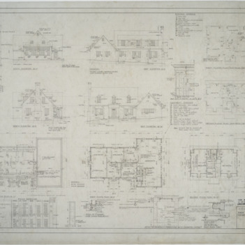 Elevations, foundation plan, first floor plan, second floor plan