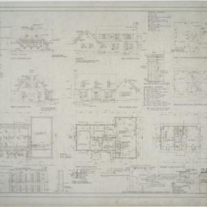 Elevations, foundation plan, first floor plan, second floor plan