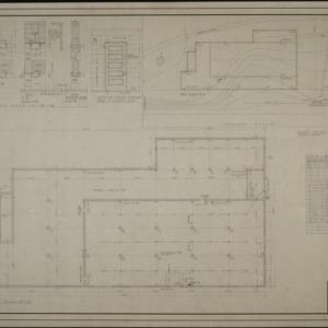Basement plan, plot plan, and door frame details