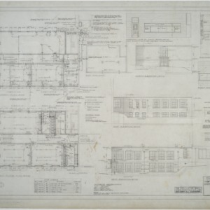 Basement plan, first floor plan, elevations