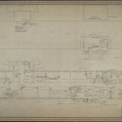 Third floor plumbing plan, roof and fourth floor plumbing plan