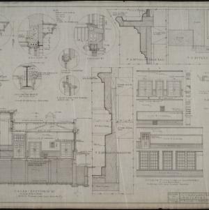 Cross-section, interior details, interior elevations