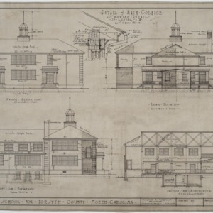 Front elevation, rear elevation, left side elevation, section
