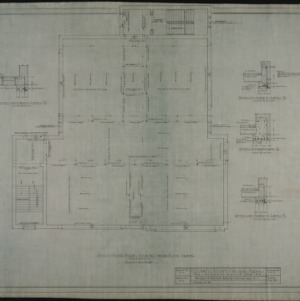 First floor plan showing second floor framing