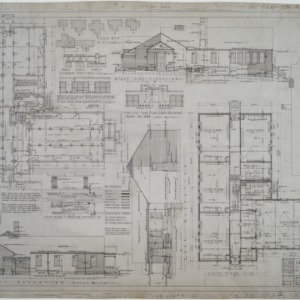 Basement floor plan, first floor plan, elevations