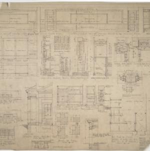 Interior details, longitudinal section, partial elevations
