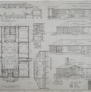 First floor plan, elevations, sections