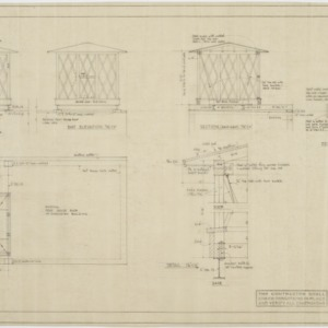 Plan, elevations, section