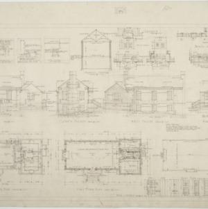 Elevations, basement floor plan, first floor plan, roof plan
