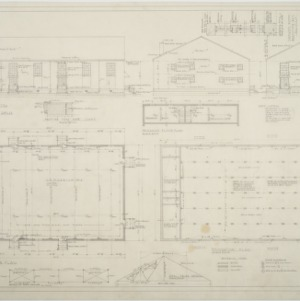 Foundation plan, first floor plan, elevations of gymnasium at Stanfield