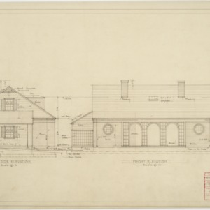 Front and right side elevation swimming pavillion garage & servants quarters