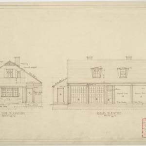 Left and rear elevation swimming pavillion garage & servants quarters