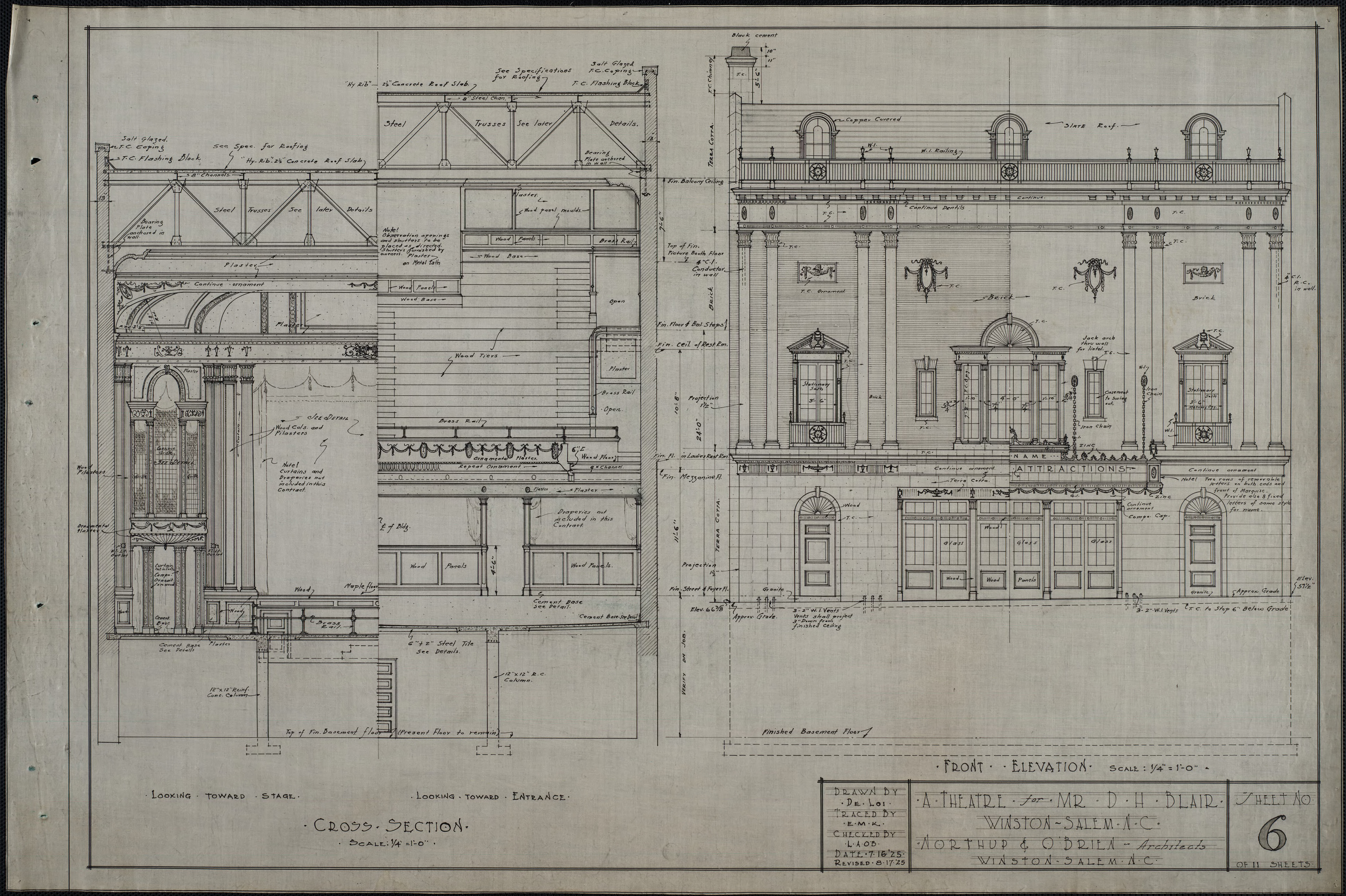 Front Elevation Definition Theatre : Cross section front elevation d h blair theatre