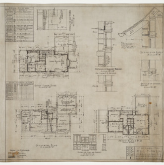 Basement plan, first floor plan, second floor plan, various details
