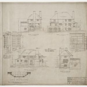 Front elevation, rear elevation, west elevation, east elevation, various details