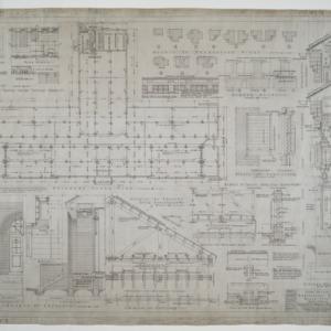 Basement floor plan, various details