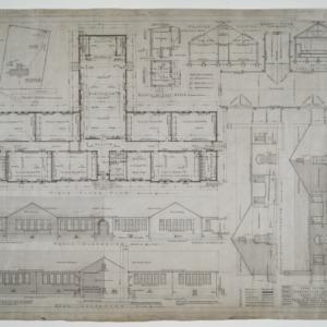 First floor plan, roof plan, elevations, various details