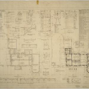 Basement plan, first floor plan, interior details