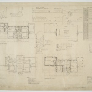 Basement plan, first floor plan, second floor plan, roof plan, attic plan, various details