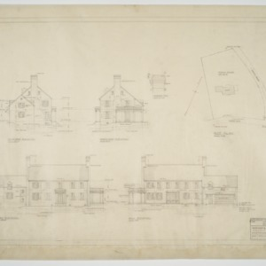 Elevations, plot plan, chimney detail