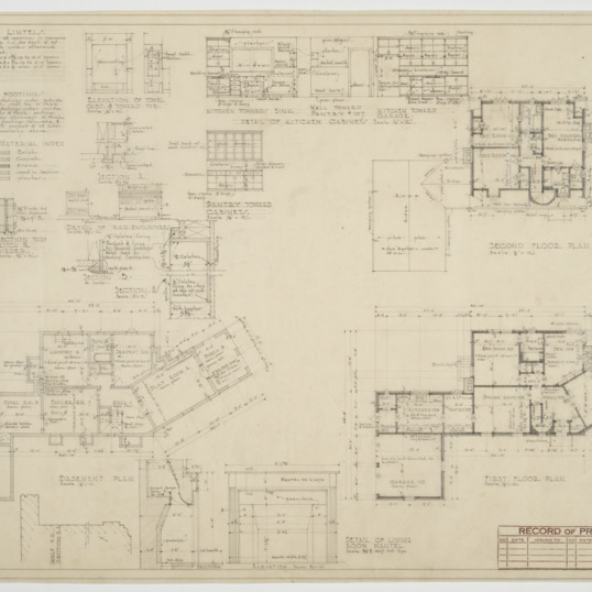 Basement plan, first floor plan, various details