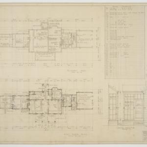 Basement plan, first floor plan, various details