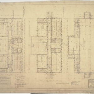 Second floor plan, first floor plan, basement plan