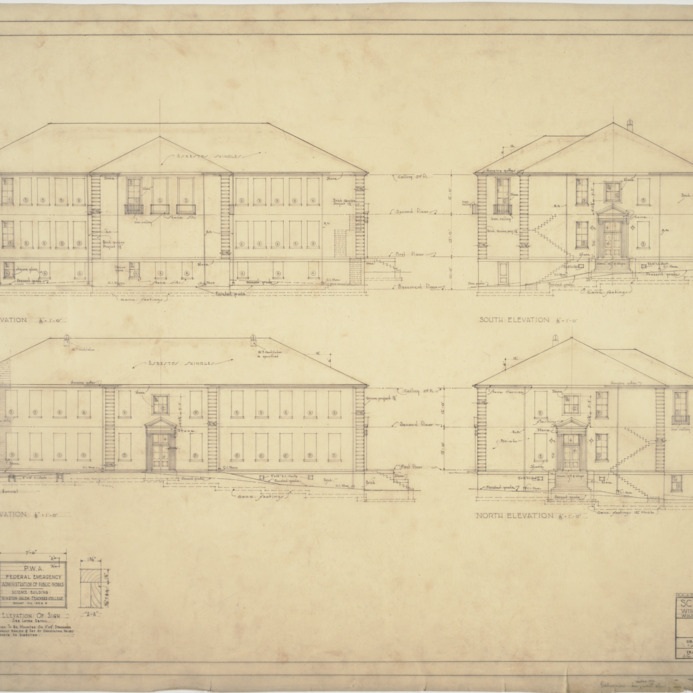 Front elevation, side elevations, rear elevation