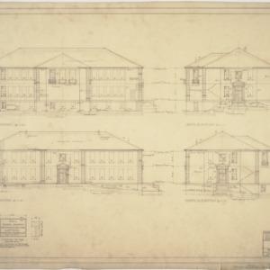 Front elevation, side elevations, rear elevation