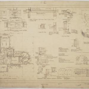 Basement floor plan, interior details