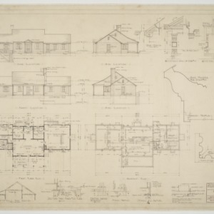 Basement plan, first floor plan, elevations, various details