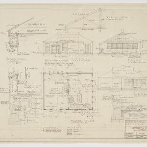 Floor plan, elevations, various details