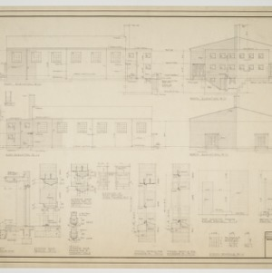 North elevation, south elevation, east elevation, west elevation, various details