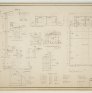 Boiler room floor plan, first floor plan, second floor plan, plot plan, various details