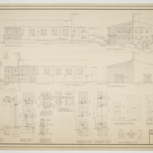 North elevation, east elevation, south elevation, west elevation, various details
