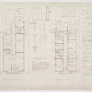 Ground floor plan, first floor plan, various details