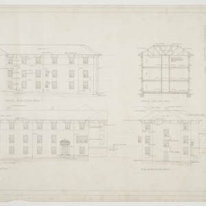 Front elevation, rear elevation, end elevation, cross section, window types