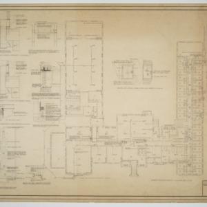 First floor plan, heating plan, various details