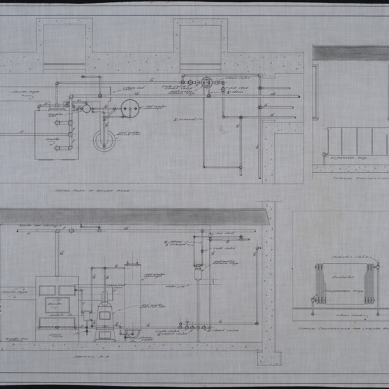 Detail plan of boiler room, section