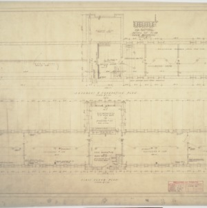 Basement and foundation plan, first floor plan, Building C
