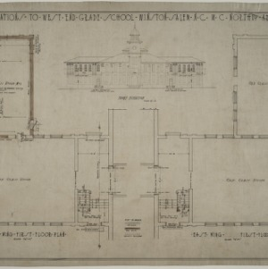 First floor plan, front elevation
