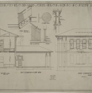 Section, east elevation, front elevation of west wing