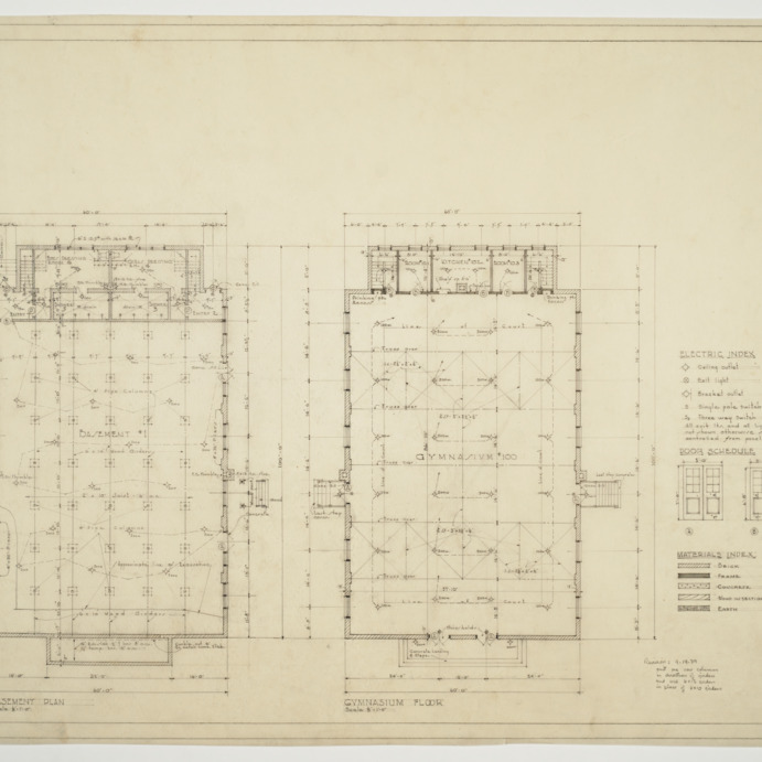 Basement plan, gymnasium floor, electric index, materials index, door schedule