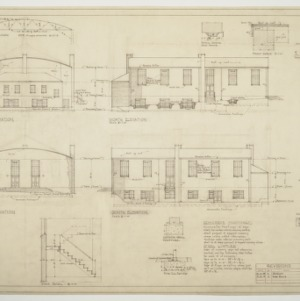 Elevations, wall section, various details